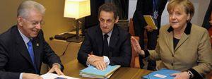 Foto: Merkel, Sarkozy y Monti mantienen un encuentro a tres previo al comienzo de la cumbre