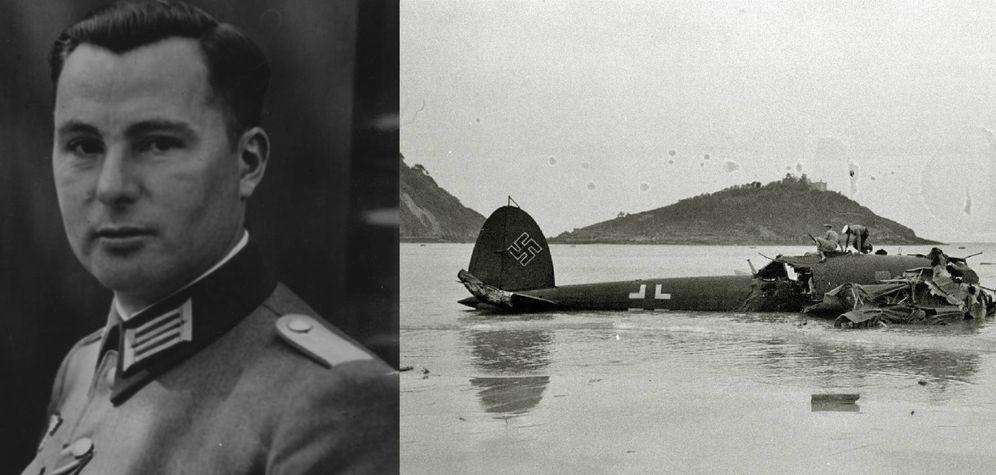 Foto: Retrato de Degrelle y su avión siniestrado en La Concha. (Archivo/Vicente Martín)