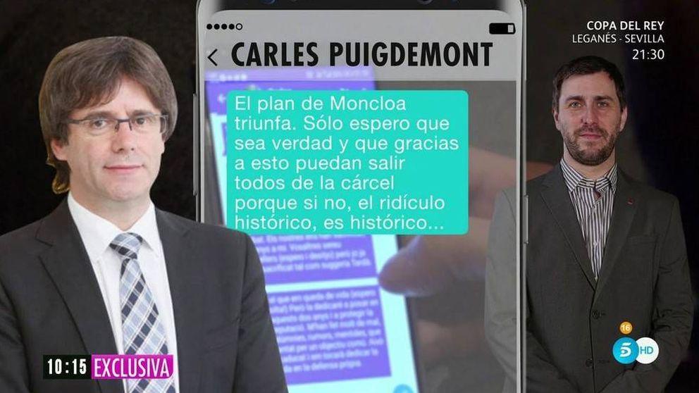 Puigdemont denuncia a Ana Rosa por difundir sus mensajes con Toni Comín