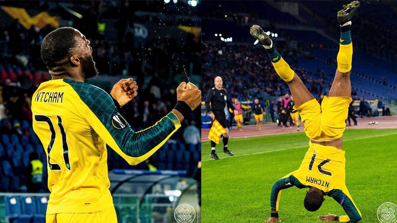 Un jugador del Celtic celebra el gol de la victoria simulando la muerte de Mussolini