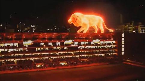 Un león de fuego se cuela en el nuevo estadio de Estudiantes de La Plata