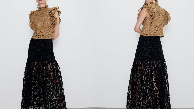 Falda de bordados de Zara. (Cortesía)