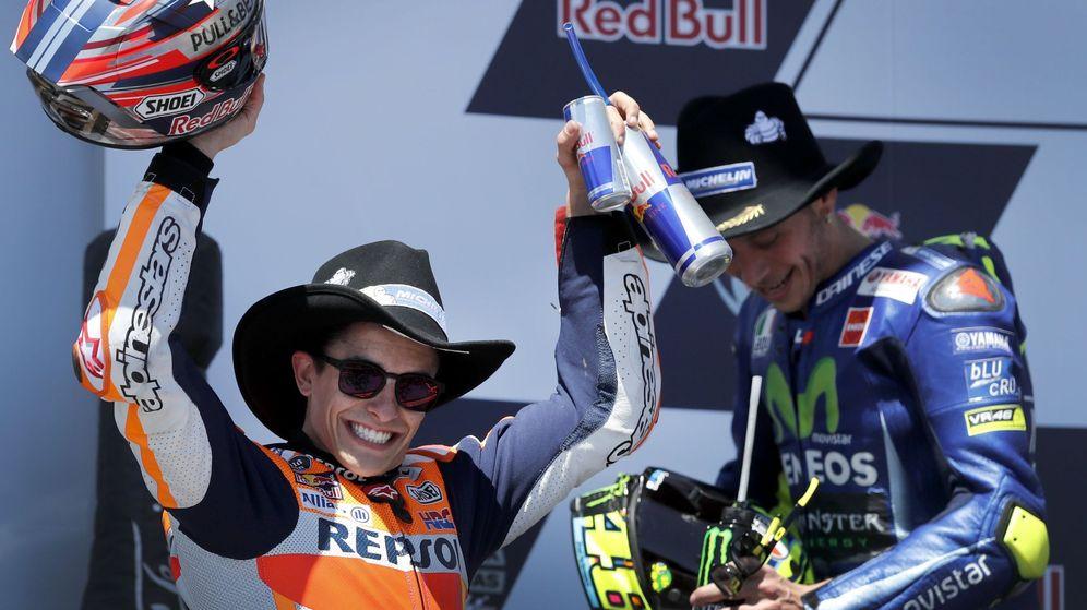 Foto: Marc Márquez ganó por quinta vez en Austin. Rossi acabó segundo. (EFE)