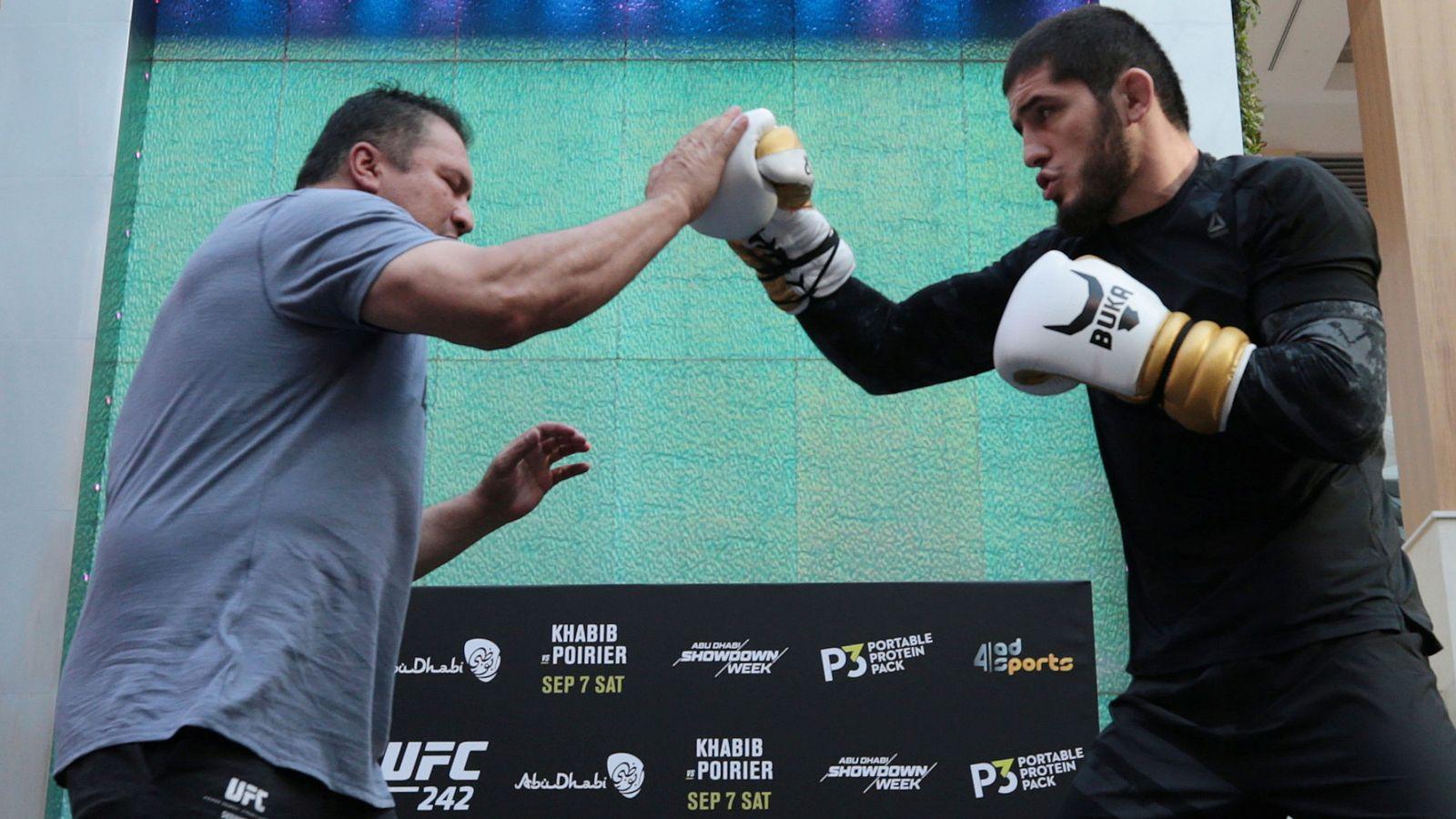 Foto: Khabib Nurmagomedov entrenándose para la pelea con Dustin Poirier (REUTERS/Christopher Pike)