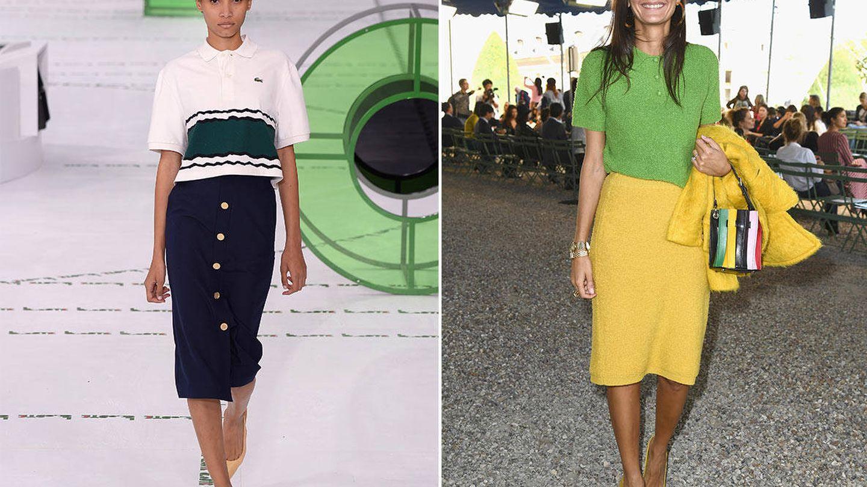 El diseño oversize que Lacoste propone para esta temporada y el ejemplo de polo de punto de Giovanna Battaglia. (Getty Images)