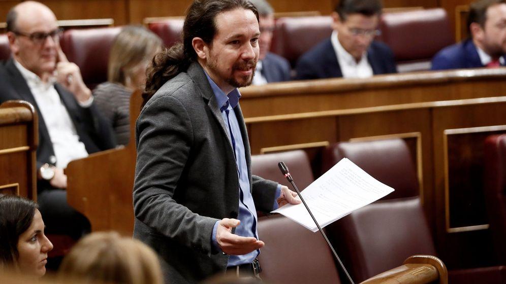 Foto: El líder de Podemos, Pablo Iglesias, durante una intervención en el Congreso de los Diputados. (EFE)