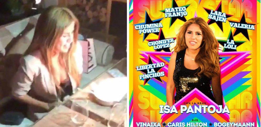 Foto: Isa Pantoja en su cena de cumpleaños y en el cartel de la fiesta gay Hysterical.
