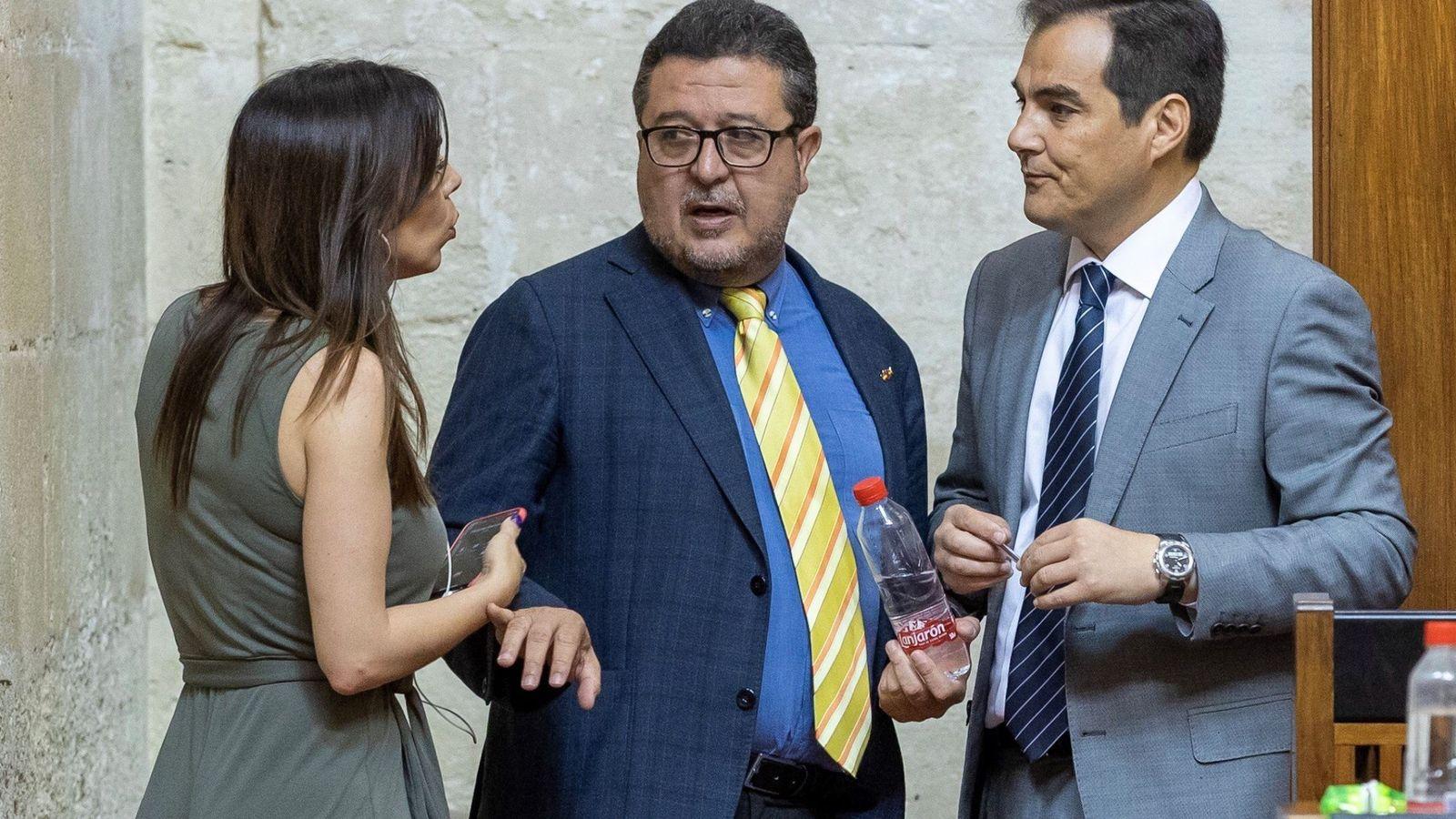 Foto: El presidente del grupo parlamentario de Vox, Francisco Serrano (c), el portavoz del PP, José Antonio Nieto (d), y la diputada de Ciudadanos María Teresa Pardo. (EFE)