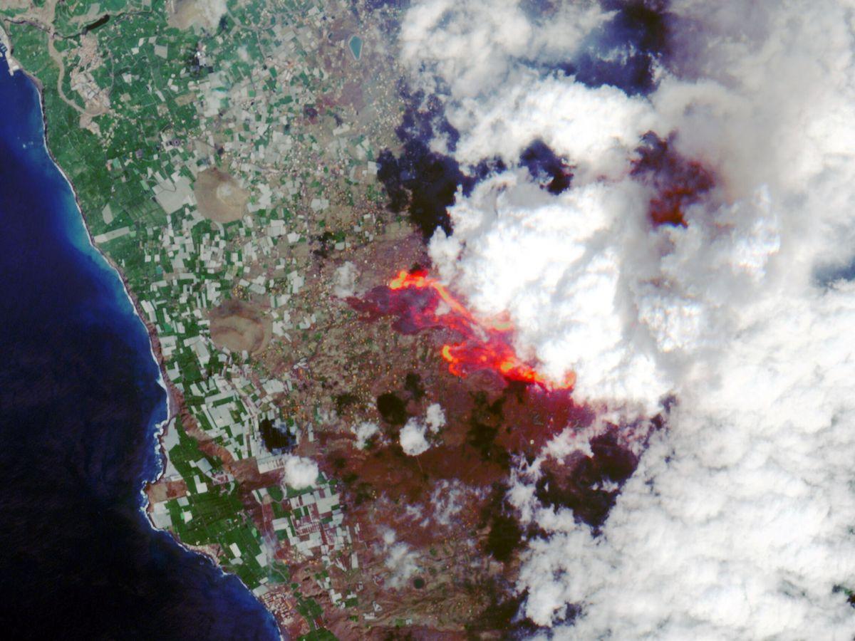 Foto: Vista satelital de las coladas de lava en La Palma. (ESA/Reuters)