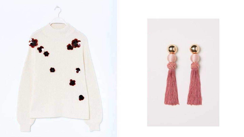 Con flores en 3D de Sfera (29,99 €) y pendientes de H&M.