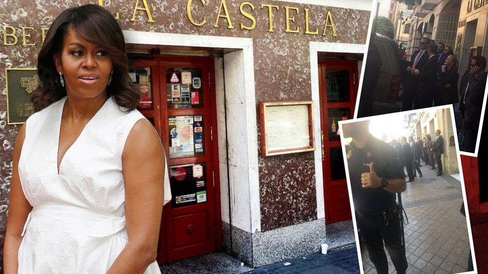 Michelle Obama paraliza el centro de Madrid para comerse unas tapas
