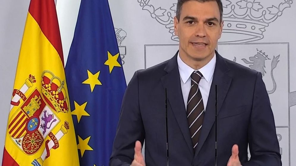 Foto: Pedro Sánchez, durante la rueda de prensa que ha ofrecido este sábado desde el Palacio de la Moncloa. (EFE)