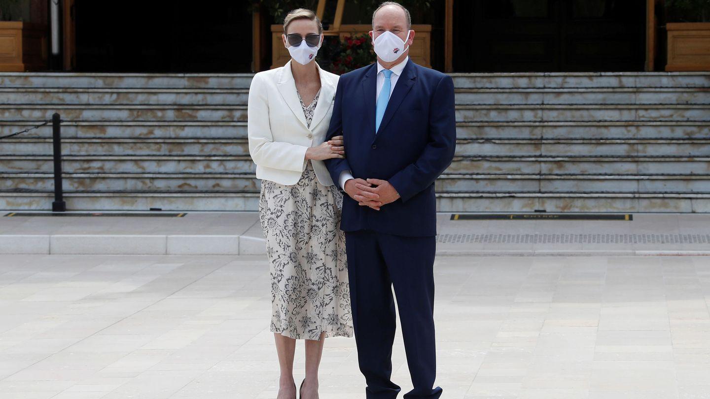 Alberto y Charlène, este martes en Mónaco. (Reuters)