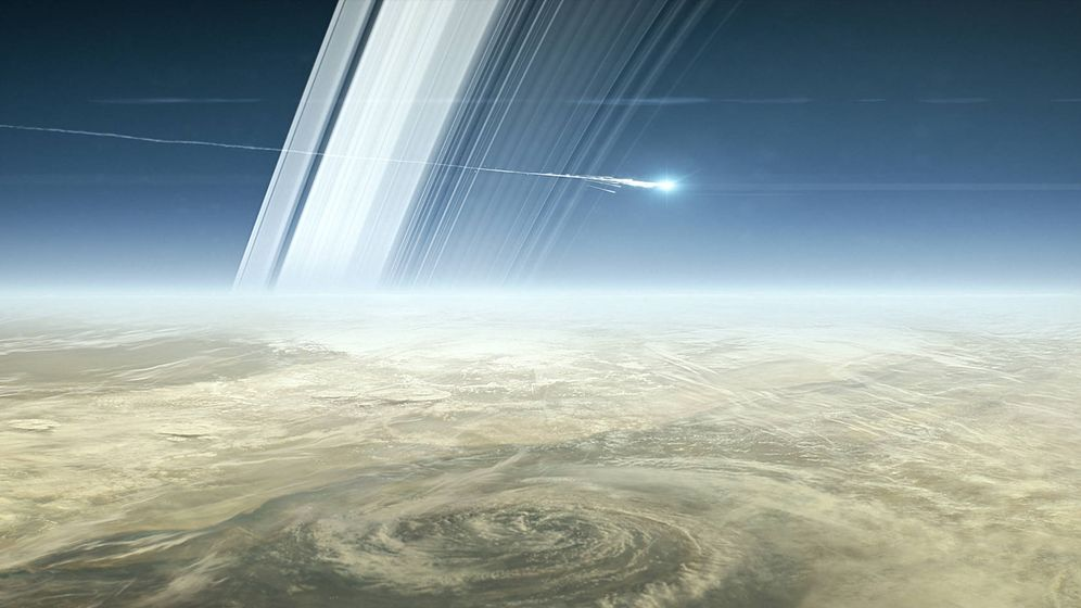 Foto: Recreación artística de Cassini descendiendo hacia Saturno (NASA)