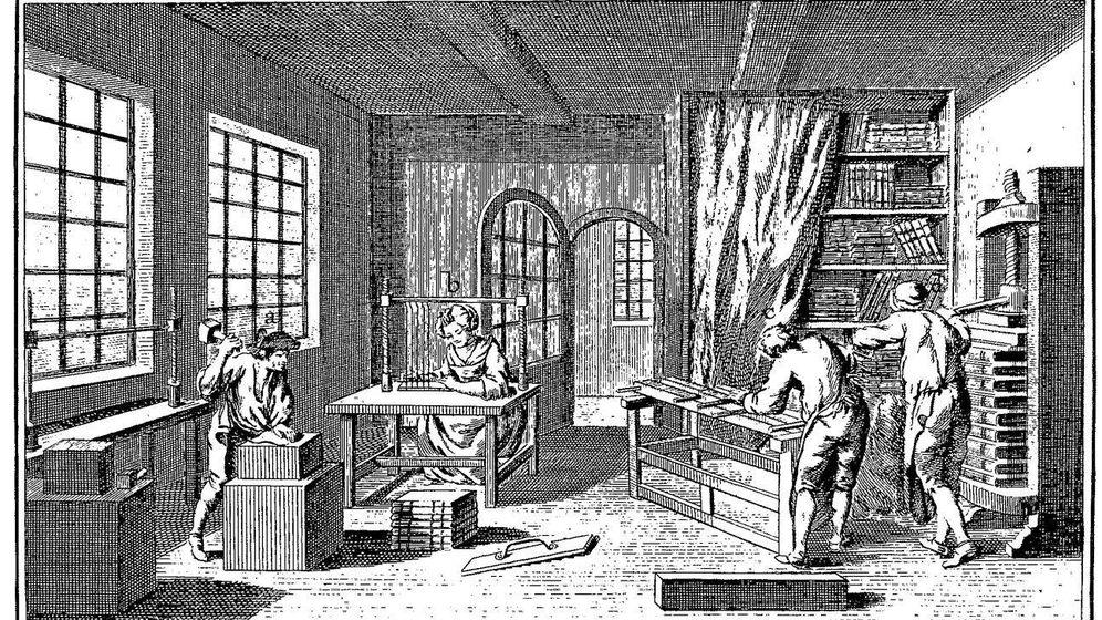 Foto: Grabado de un taller de impresión publicado en la 'Enciclopedia' de Diderot (s. XVIII)