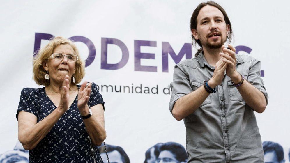 Foto: Manuela Carmena y Pablo Iglesias durante un mitin de campaña. (EFE)