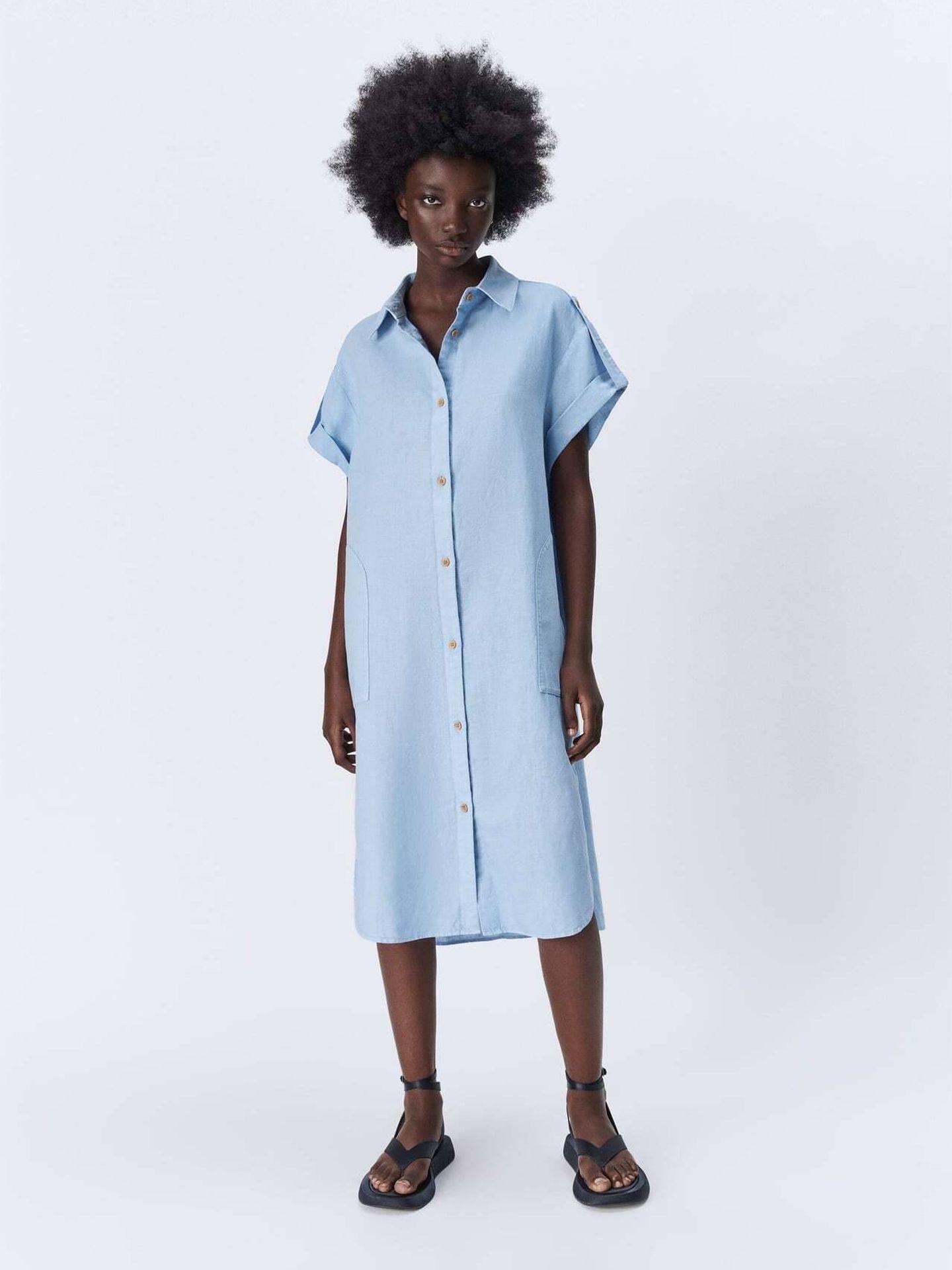 Un vestido camisero de Zara. (Cortesía)