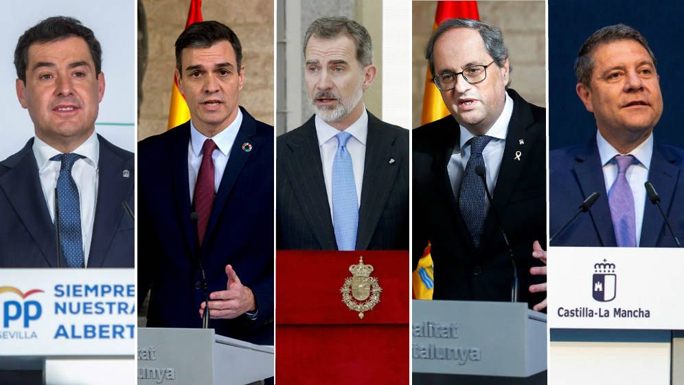 Foto: De i. a d.: Juan Manuel Moreno Bonilla, Pedro Sánchez, el rey Felipe VI, Quim Torra y Emiliano García-Page. (Montaje: EC.)
