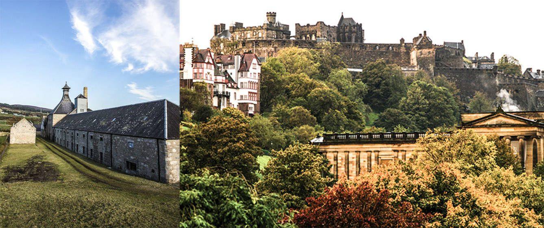 Sobre estas líneas, a la izquierda, imagen de la campiña escocesa; a la derecha, vista del castillo de Edimburgo.