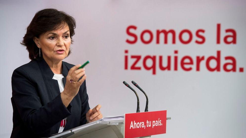Foto: La secretaria del Área de Igualdad del PSOE, Carmen Calvo, este 9 de febrero. (EFE)