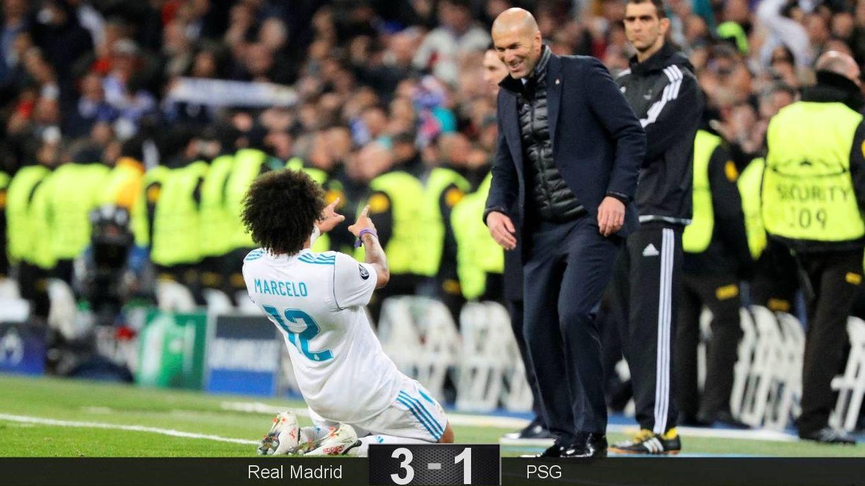 Foto: Marcelo celebró con Zidane el 3-1. (Reuters)