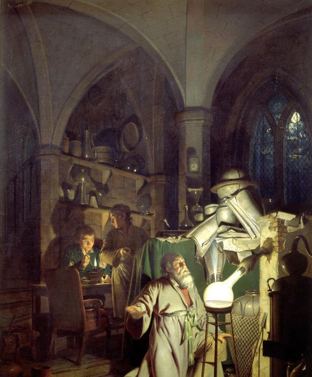 Foto: 'El alquimista en busca de la piedra filosofal', de Joseph Wright de Derby. (1771)