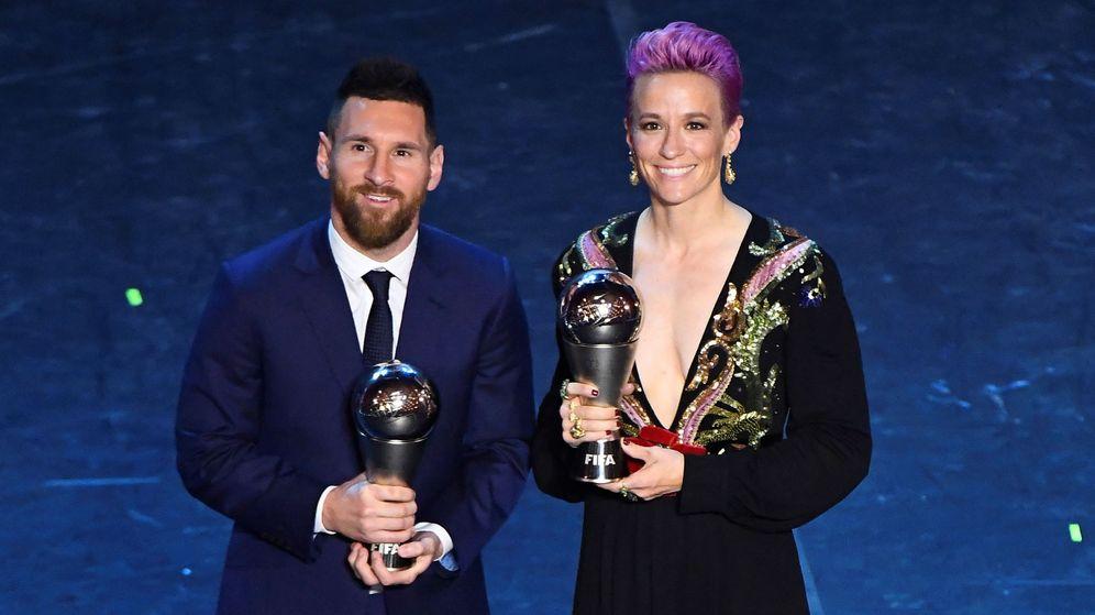 Foto: Leo Messi y Megan Rapinoe, premios The Best 2019. (Reuters)