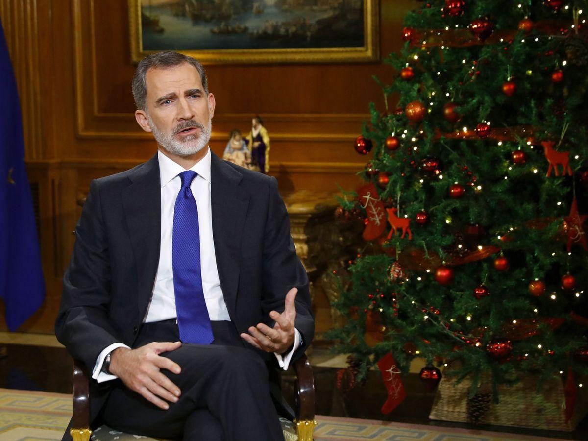 Foto: El rey Felipe, durante su discurso televisado. (EFE)