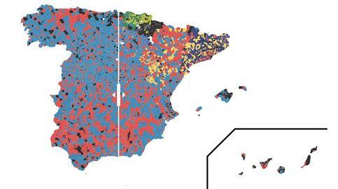 Resultados electorales: Así ha cambiado el mapa municipal de España