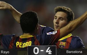 Messi y Valdés imponen su estilo y Pedro un gran 'hat-trick' para golear