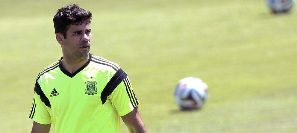 Foto: Diego Costa, durante un entrenamiento con la selección española.