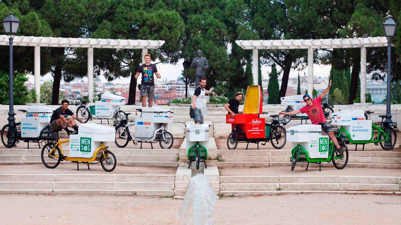 Foto: Parte de la flota de Mensos, 'startup' que se dedica a la ciclomensajería. (Foto: Guillermo Sanz)