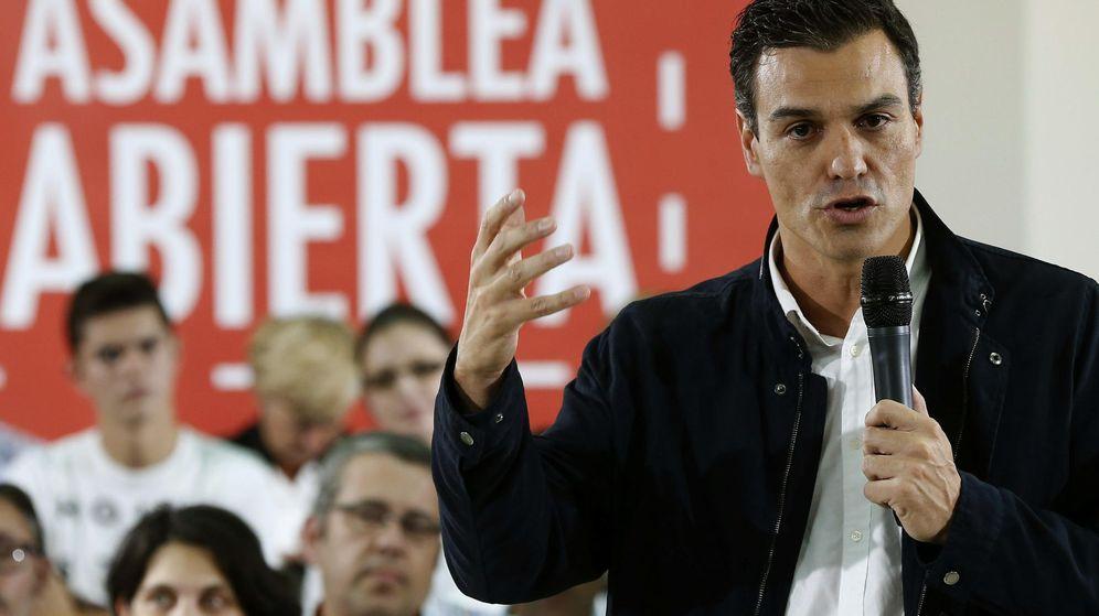Foto: Pedro Sánchez, este 5 de octubre en una asamblea abierta sobre educación en Arganda del Rey, en Madrid. (EFE)