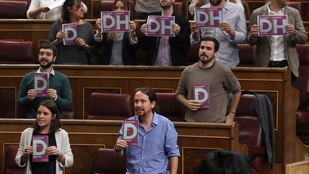 Iglesias para el pleno y deja la Declaración de DDHH sobre el escaño de Rajoy
