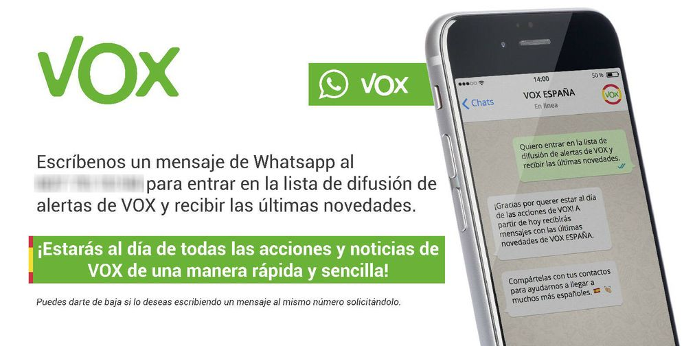 Foto: Imagen de promoción de la lista de difusión de Vox en WhatsApp.