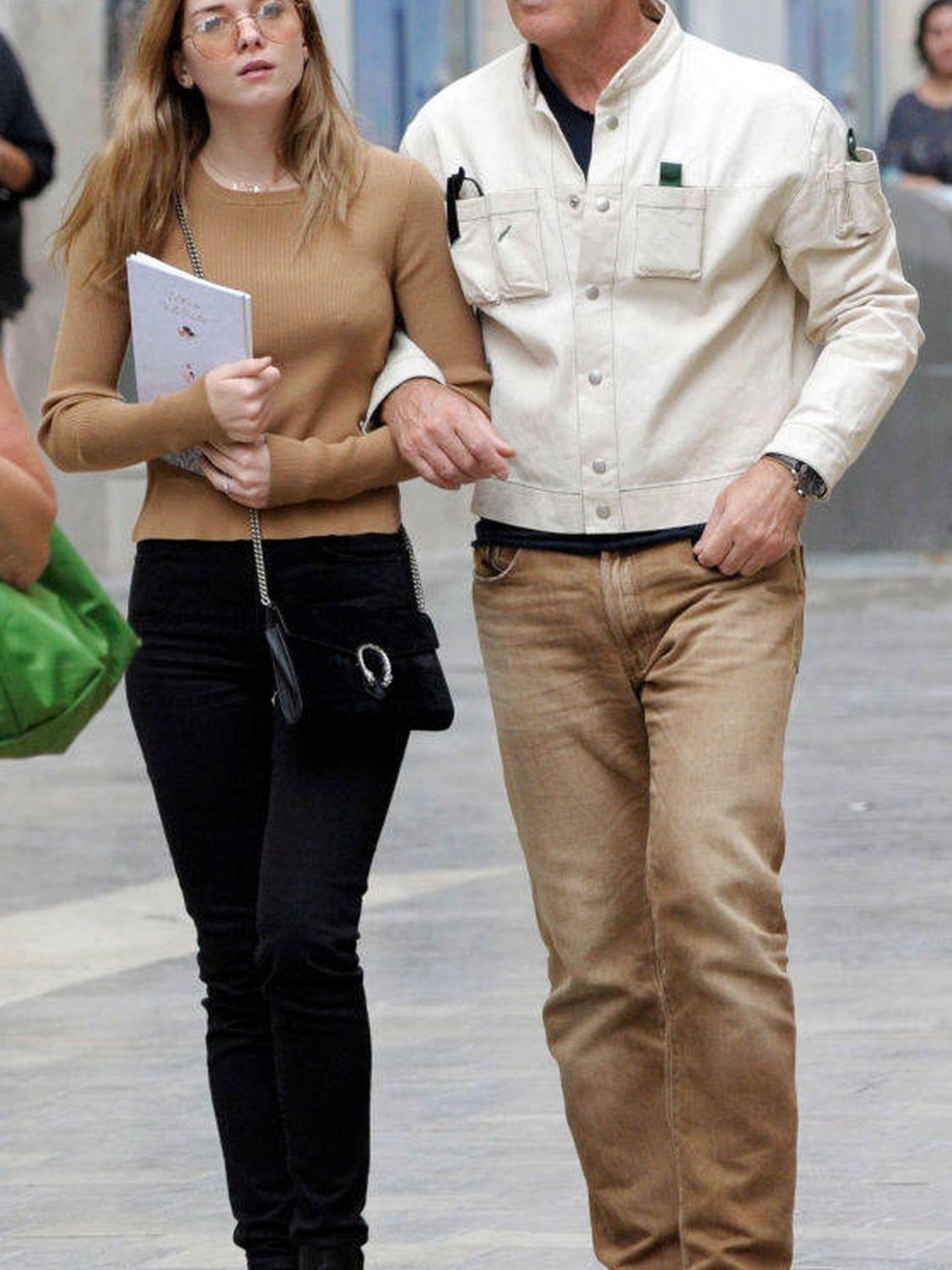 Antonio Banderas y su hija en Málaga.  (Getty)