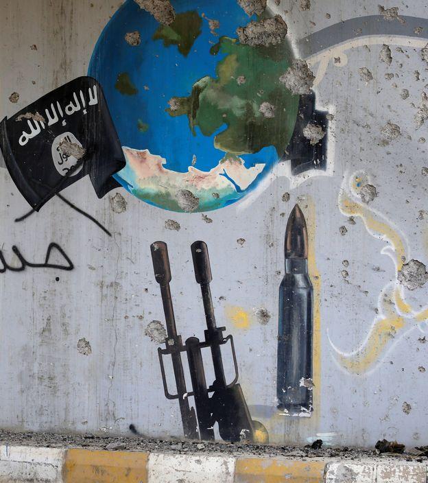 Foto: Pintada en favor del Estado Islámico en Falluja, Irak (Reuters)