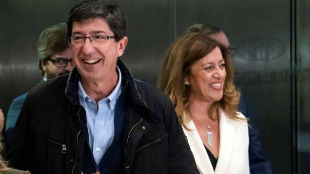 Foto: El vicepresidente del Ejecutivo andaluz, Juan Marín (c), acompañado por la secretaria de Organización de Cs, Mar Hormigos. (EFE)