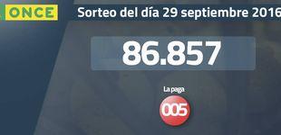 Post de Resultados del sorteo de la ONCE del 29 de septiembre de 2016: número 86.857