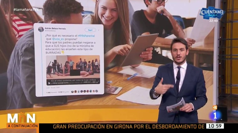 Diego Losada explica uno de los mensajes de Vox. (Captura de TVE)