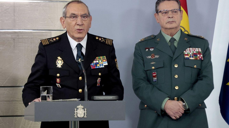 Los DAO de Policía y Guardia Civil, José Ángel González y Laurentino Ceña, el pasado 23 de marzo. (EFE)