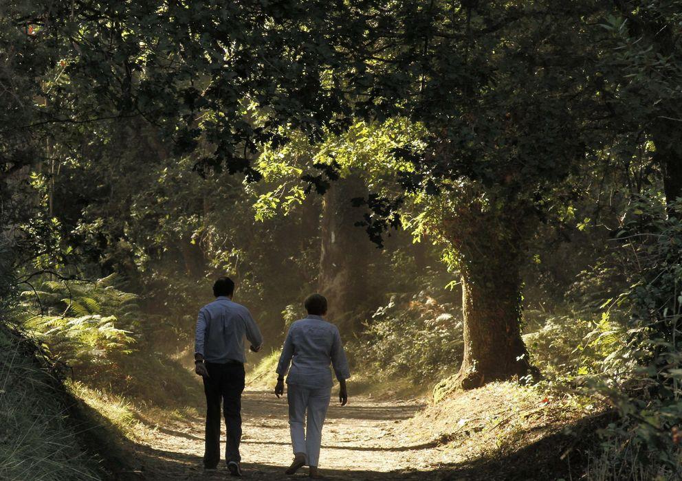 Foto: Merkel y rajoy recorren un tramo del Camino de Santiago. (Efe)