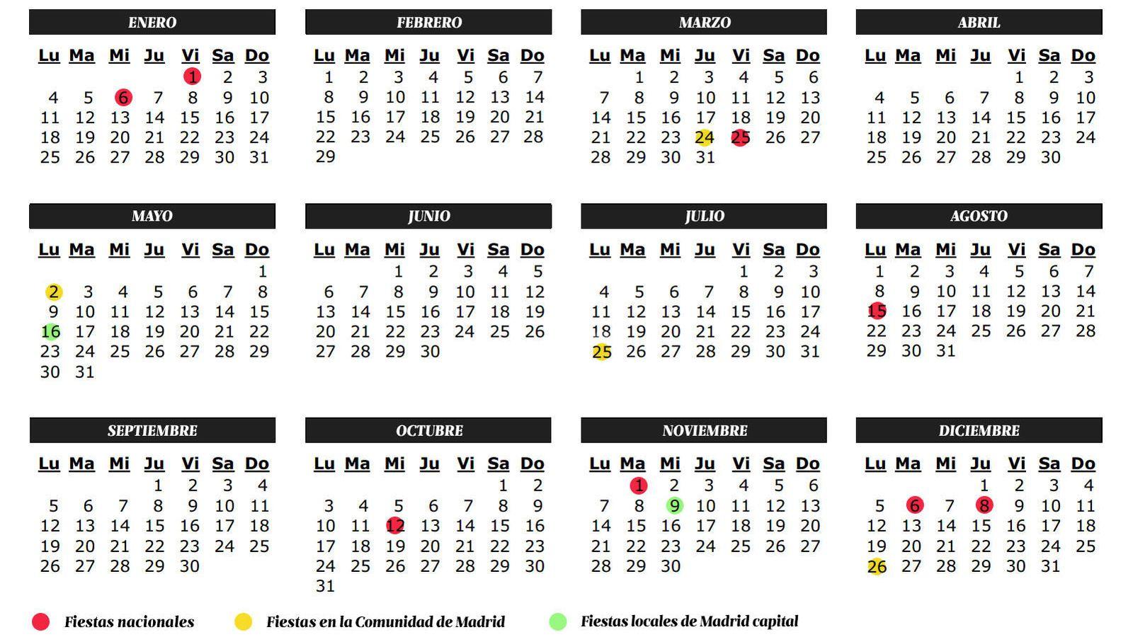 Vacaciones calendario de festivos de 2016 de la comunidad for Comunidad de madrid rea