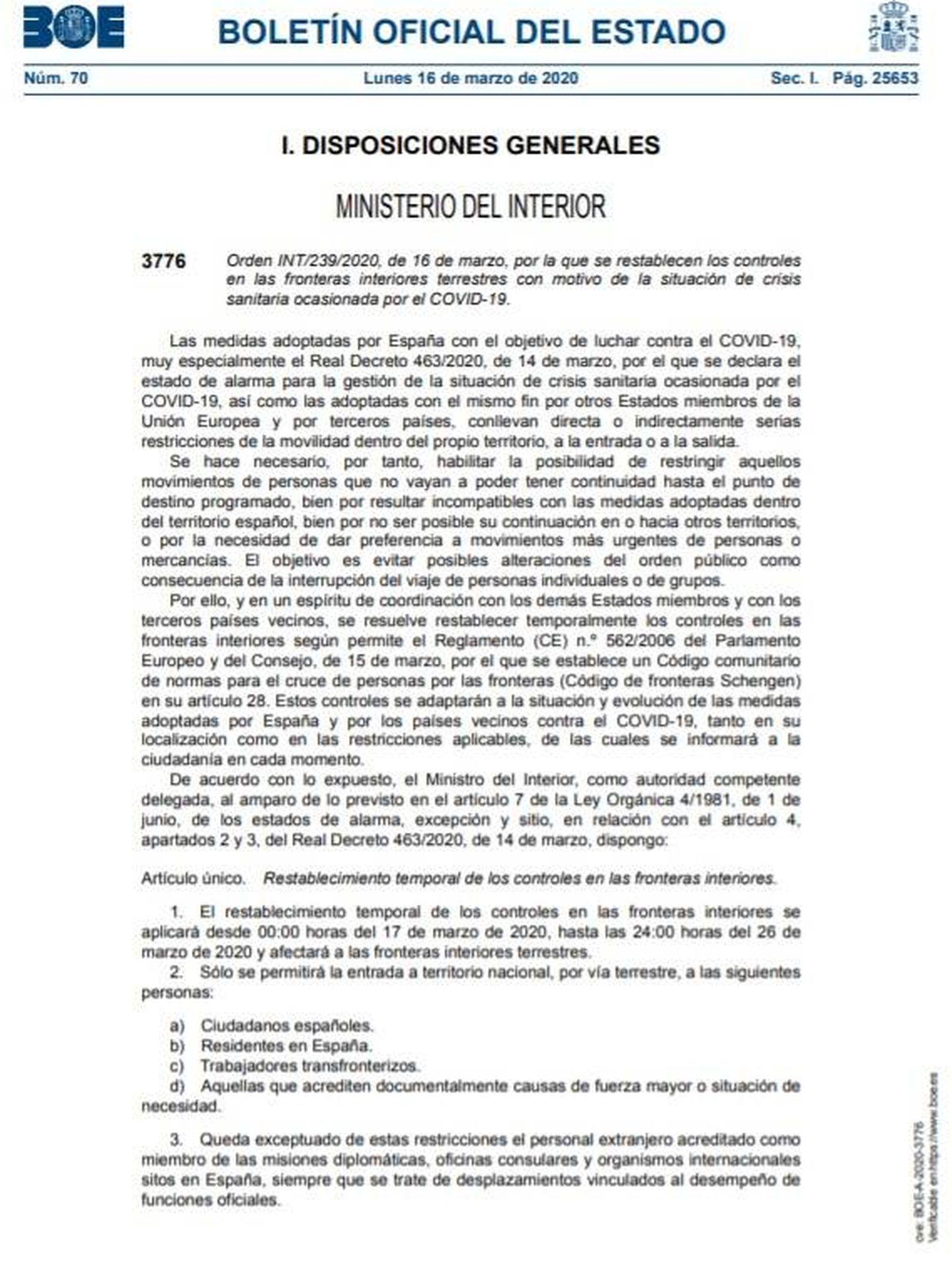 Consulte aquí el PDF de la orden de Interior de restablecimiento temporal de los controles de las fronteras interiores.