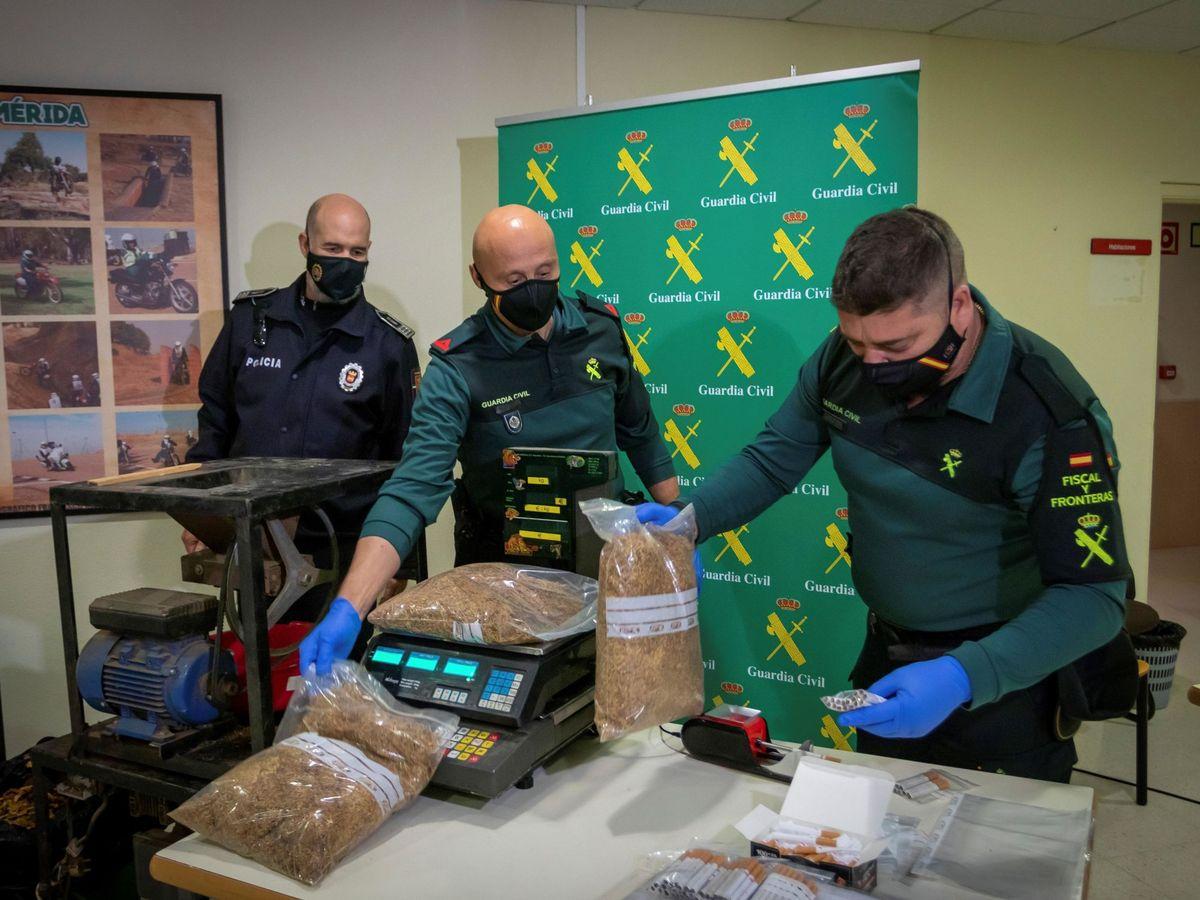 Foto: Agentes de la Guardia Civil con 53 toneladas de hojas de tabaco incautado (EFE)