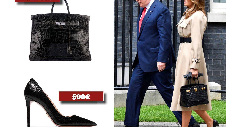 Bolso de Hermès y salones de Prada. (Cortesía)