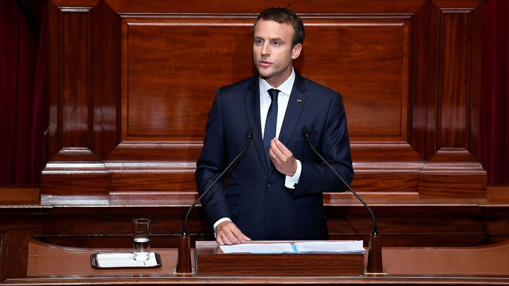 Foto: Emmanuel Macron, presidente de Francia, en su discurso de este lunes en Versalles.