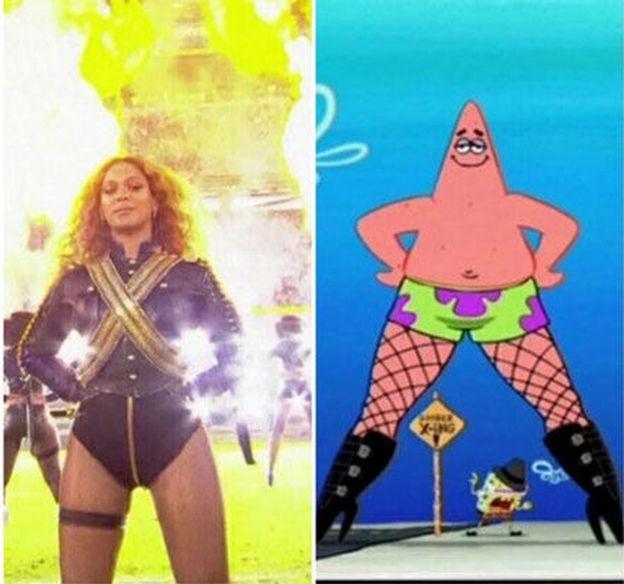 Foto: Beyoncé en la Super Bowl, comparada con Patricio, uno de los personajes de 'Bob Esponja'