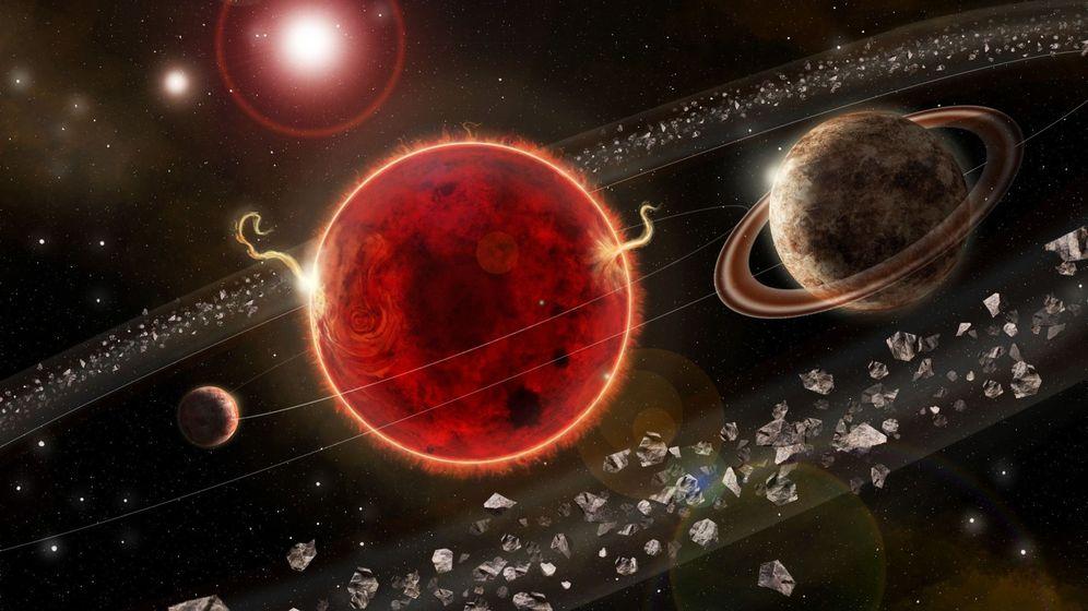 Foto: representación artística del sistema planetario Próxima Centauri, con el exoplaneta recién descubierto, ''Próxima c (d). Foto: EFE