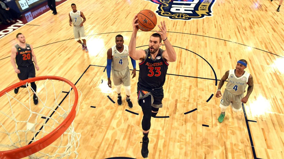 Foto: Marc Gasol, anotando una canasta durante el All-Star (Reuters).